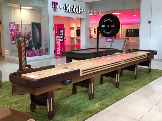 18' Grand Hudson Deluxe Shuffleboard Table installed in The Parks Mall at Arlington
