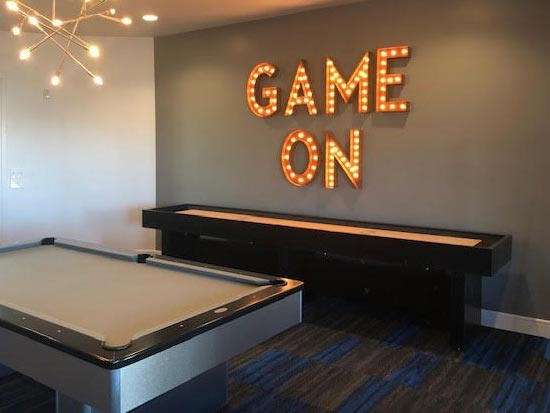 12' Hudson Berkeley Shuffleboard Table installed in Addison, Texas
