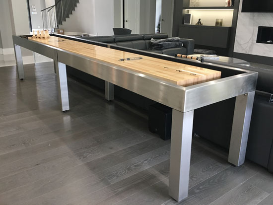 14' Brushed Stainless Steel Shuffleboard Table installed in Parkland, Florida
