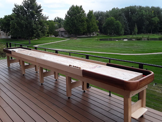 20' Cirrus Outdoor Shuffleboard Table installed in Boulder, Colorado